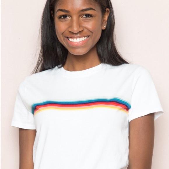 da1c366aab Brandy Melville Tops - Rainbow striped Brandy Melville tee (white)